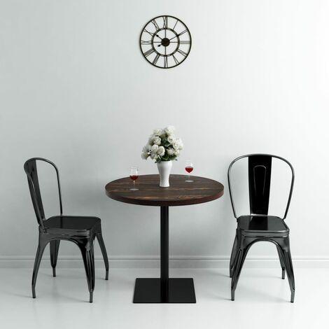 Hommoo Bistro Table MDF and Steel Round 80x75 cm Dark Ash QAH11568