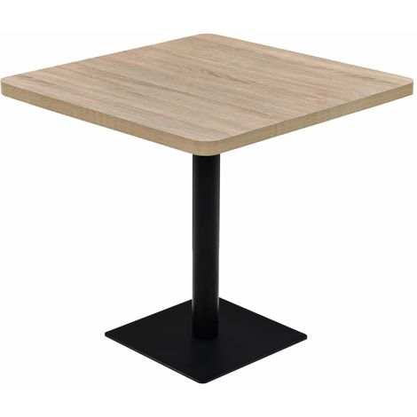 Hommoo Bistro Table MDF and Steel Square 80x80x75 cm Oak Colour