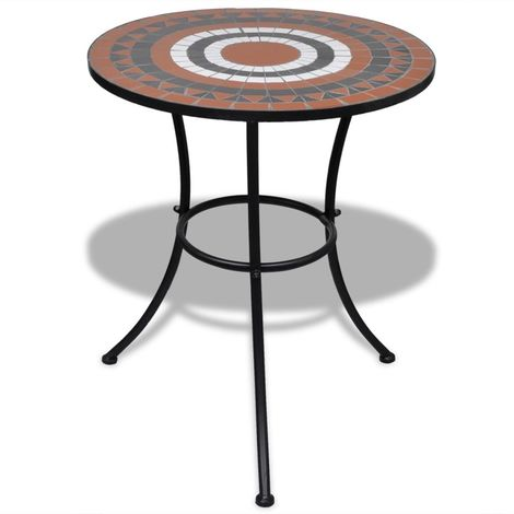 Hommoo Bistro Table Terracotta and White 60 cm Mosaic