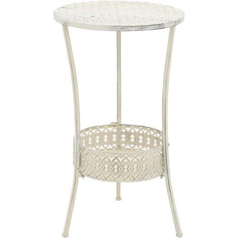 Hommoo Bistro Table Vintage Style Round Metal 40x70 cm White