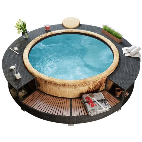 Hommoo Black Poly Rattan Spa Surround