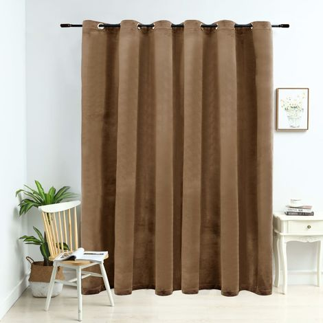 Hommoo Blackout Curtain with Metal Rings Velvet Beige 290x245 cm
