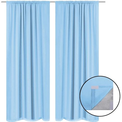Hommoo Blackout Curtains 2 pcs Double Layer 140x175 cm Turquoise
