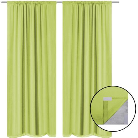 Hommoo Blackout Curtains 2 pcs Double Layer 140x245 cm Green