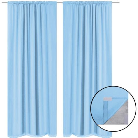 Hommoo Blackout Curtains 2 pcs Double Layer 140x245 cm Turquoise