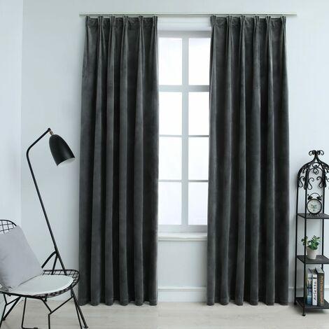 Hommoo Blackout Curtains 2 pcs with Hooks Velvet Anthracite 140x175 cm QAH03398