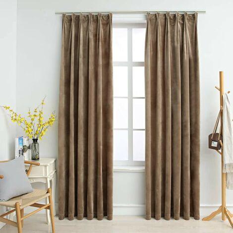 Hommoo Blackout Curtains 2 pcs with Hooks Velvet Beige 140x175 cm