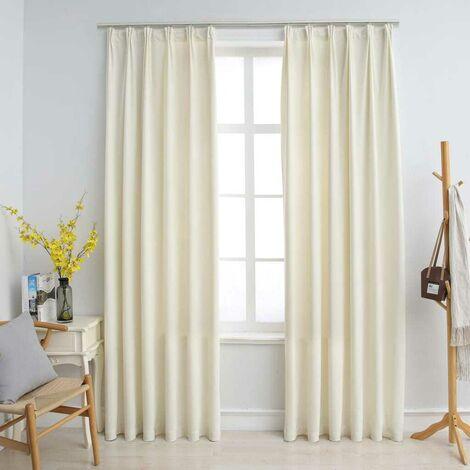 Hommoo Blackout Curtains 2 pcs with Hooks Velvet Cream 140x175 cm