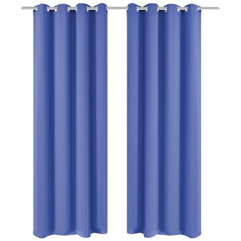 Hommoo Blackout Curtains 2 pcs with Metal Eyelets 135x175 cm Blue