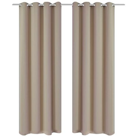 Hommoo Blackout Curtains 2 pcs with Metal Eyelets 135x175 cm Cream