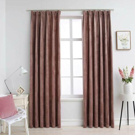 Hommoo Blackout Curtains 2pcs with Hooks Velvet Antique Pink 140x225cm