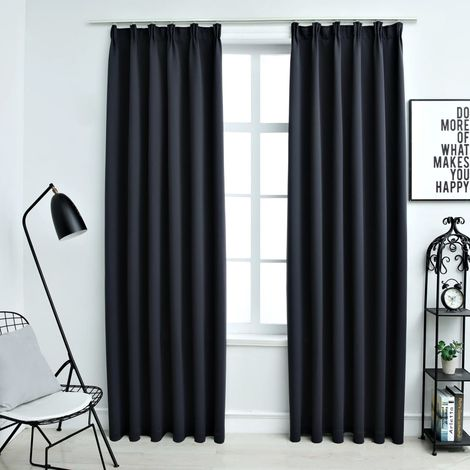 Hommoo Blackout Curtains with Hooks 2 pcs Anthracite 140x245 cm