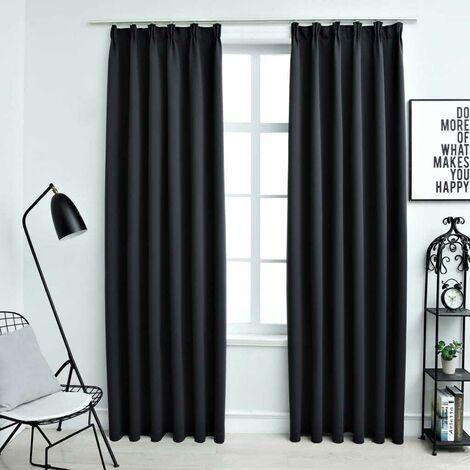 Hommoo Blackout Curtains with Hooks 2 pcs Black 140x245 cm
