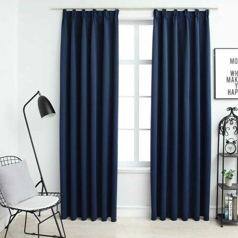 Hommoo Blackout Curtains with Hooks 2 pcs Blue 140x245 cm VD03354