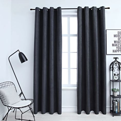 Hommoo Blackout Curtains with Metal Rings 2 pcs Anthracite 140x245 cm