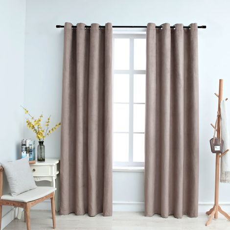 Hommoo Blackout Curtains with Metal Rings 2 pcs Taupe 140x245 cm