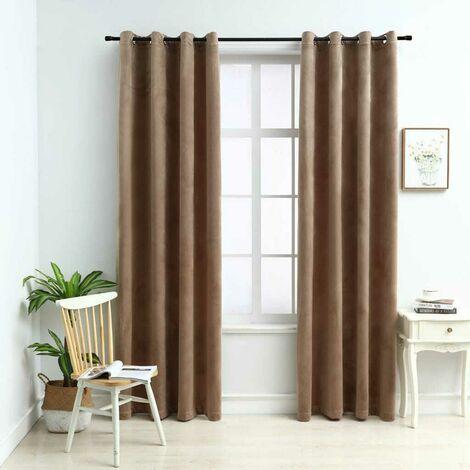 Hommoo Blackout Curtains with Rings 2 pcs Velvet Beige 140x175 cm
