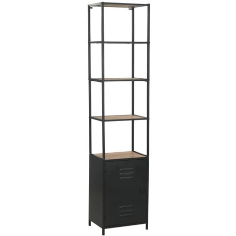 Hommoo Bookcase Solid Firwood and Steel 40.5x32.5x180 cm VD12356