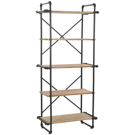 Hommoo Bookcase Solid Firwood and Steel 80x42x180 cm VD12354
