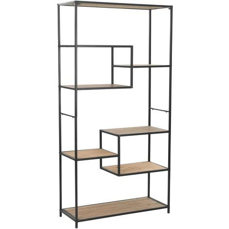 Hommoo Bookcase Solid Firwood and Steel 90.5x35x180 cm VD12358