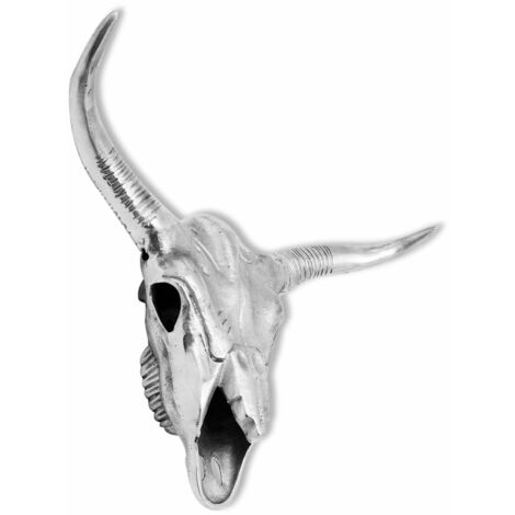 Hommoo Bull Skull Head Decoration Wall-Mounted Aluminium Silver QAH09838