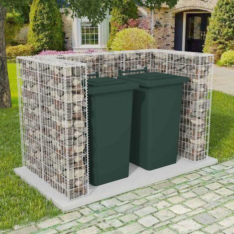Hommoo Cadre à gabion de poubelle double Acier 180 x 100 x 120 cm