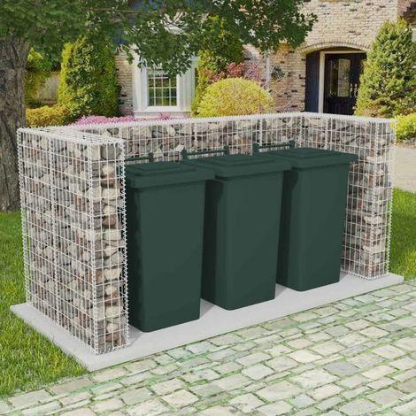 Hommoo Cadre de gabion de poubelle triple Acier 250 x 100 x 120 cm