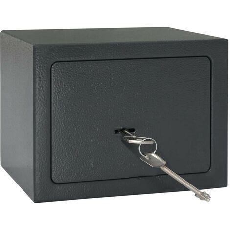 Hommoo Caja fuerte mecánica de acero gris oscuro 23x17x17 cm
