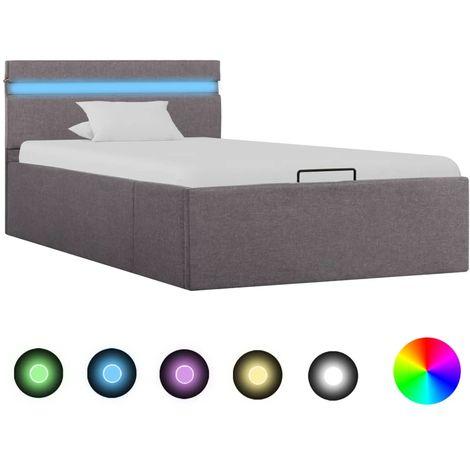 Hommoo Cama canapé hidraúlica almacenaje LED tela gris topo 100x200 cm