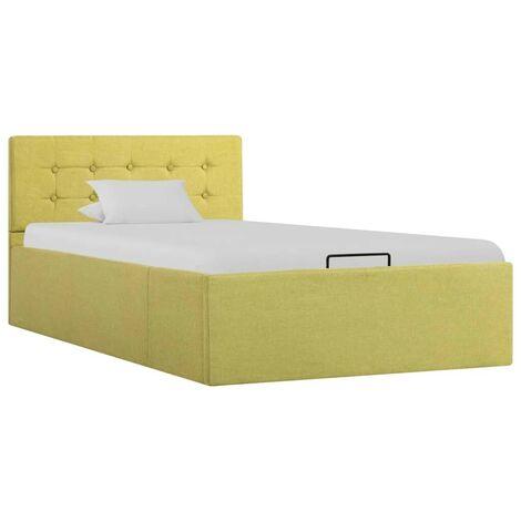 Hommoo Cama canapé hidraúlica con almacenaje tela verde 100x200 cm