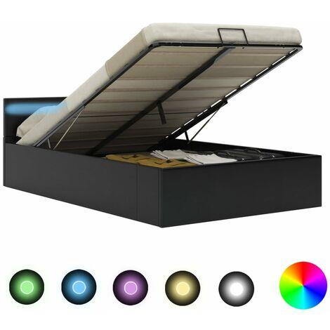 Hommoo Cama canapé hidráulica con LED cuero sintético negro 120x200 cm