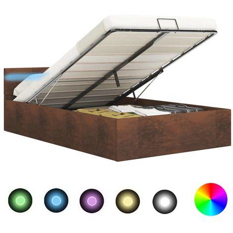 Hommoo Cama canapé hidráulica con LED tela marrón 180x200 cm