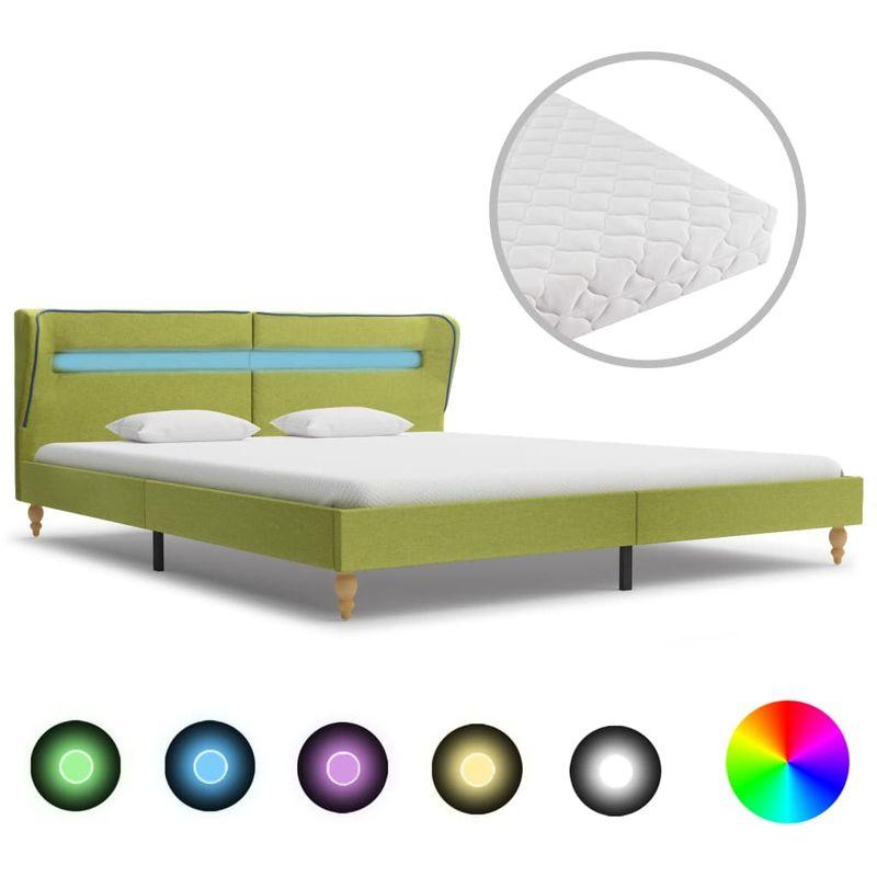 Cama con LED y colchón tela verde 160x200 cm - Hommoo