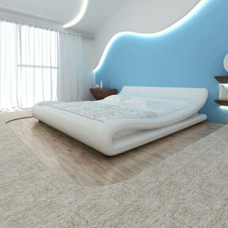Hommoo Cama doble de cuero blanco artificial con colchón 180x200 cm