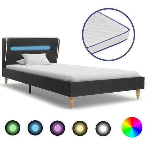 Hommoo Cama LED colchón viscoelástico arpillera gris oscuro 120x200 cm