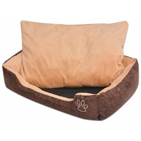 Hommoo Cama para perro con cojín PU cuero artificial talla XXL marrón