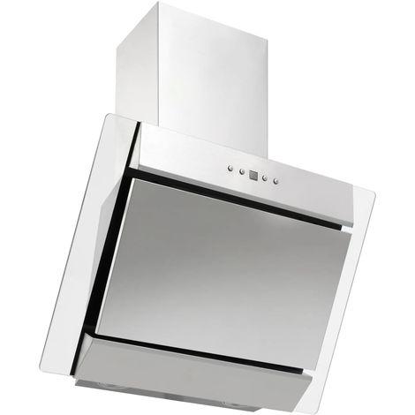 Hommoo Campana extractora acero inoxidable vidrio templado plata 60 cm