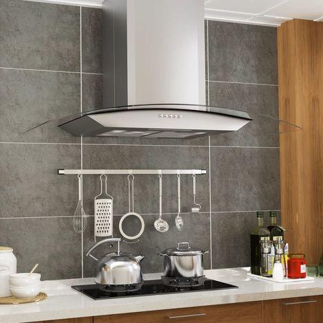 Hommoo Campana extractora de pared 90 cm acero inoxidable 756 m3/h LED