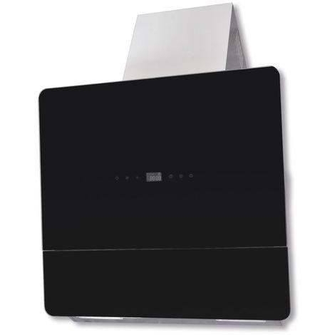 Hommoo Campana extractora vidrio templado negro con pantalla 600 mm
