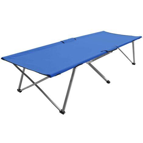 Hommoo Camping Bed 206x75x45 cm XXL Blue VD46109
