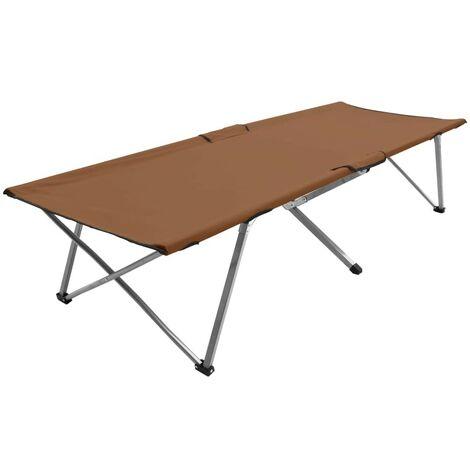 Hommoo Camping Bed 206x75x45 cm XXL Brown VD46113