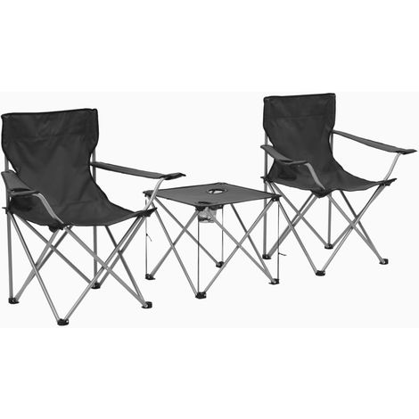Hommoo Camping Table and Chair Set 3 Pieces Grey
