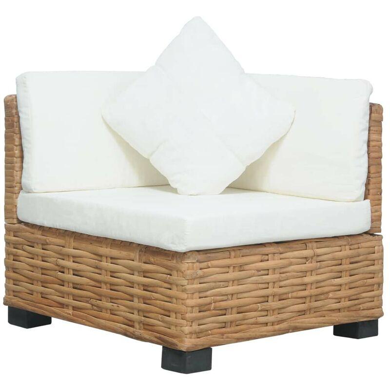 Canapé d'angle avec coussins Rotin l HDV36698 - Hommoo