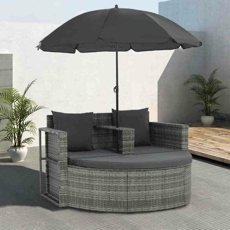 Hommoo Canapé de jardin avec coussins et parasol Gris Résine tressée HDV28670