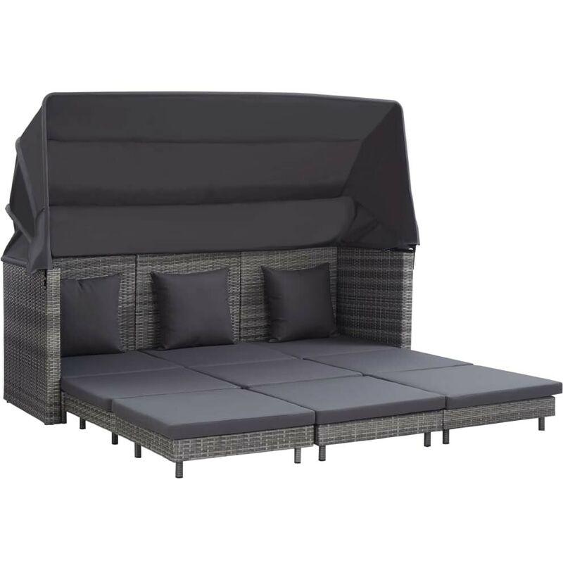 Canapé-lit extensible 3 places avec toit Résine tressée Gris HDV45402 - Hommoo