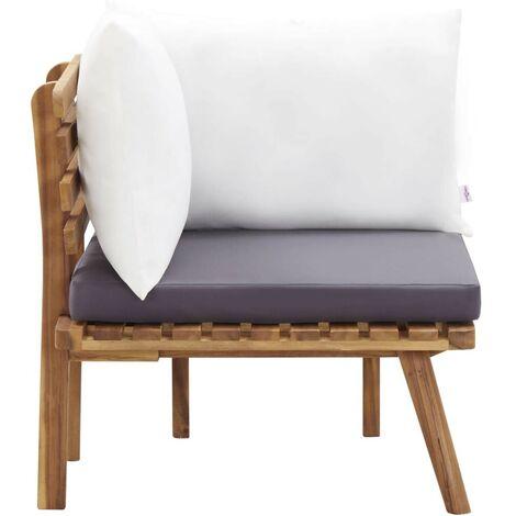 Hommoo Canapé d'angle de jardin avec coussins Bois d'acacia massif HDV45618