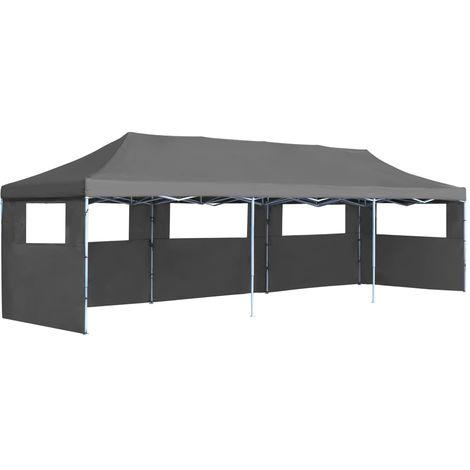 Hommoo Carpa plegable Pop-up con 5 paredes laterales 3x9 m gris