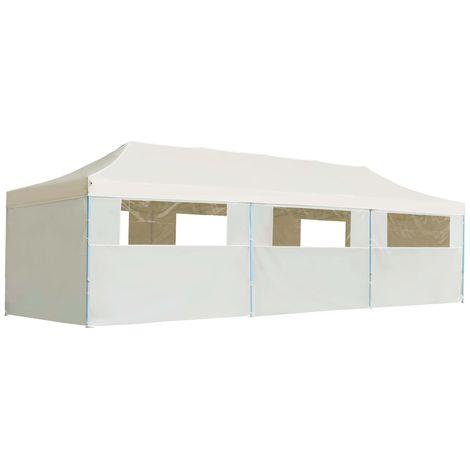 Hommoo Carpa plegable Pop-up con 8 paredes laterales 3x9 m crema
