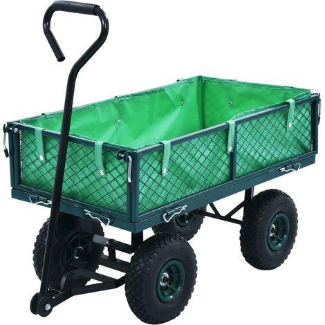 Hommoo Carrito de mano de jardín verde 250 kg
