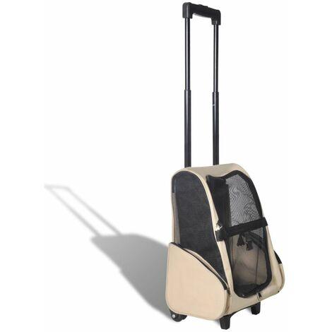 Hommoo Carrito trolley plegable multiusos para mascotas beige HAXD06919